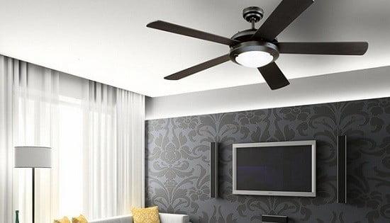 Un ventilateur de plafond.