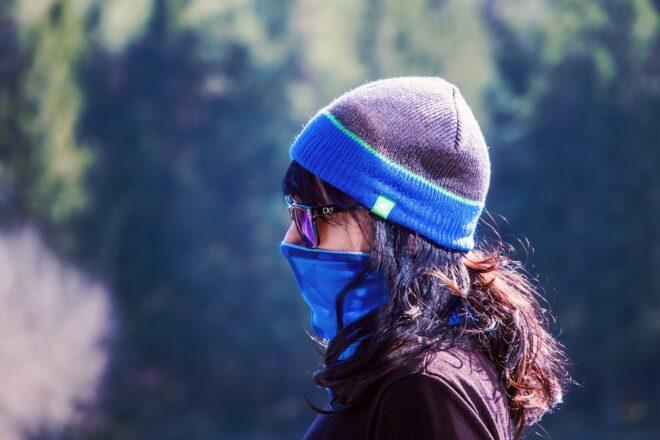 fille, masque, bonnet