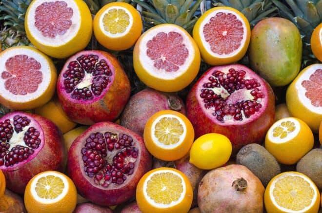 Coupe transversales de fruits